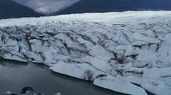 Aerial view Knik Glacier constantly moving, Alaska, USA - stock footage