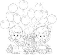 Goodbye kindergarten - stock illustration