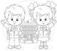 Schoolchildren before a school - stock illustration