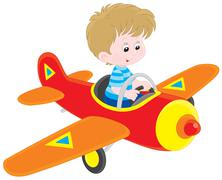 Boy pilot - stock illustration