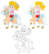 Little rider Stock Illustration