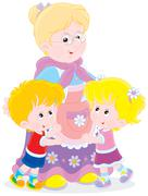 Granny and her grandchildren - stock illustration