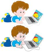 Boy with a laptop Stock Illustration