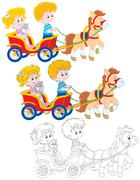 Children riding a pony - stock illustration