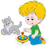 Boy plays with a whirligig and kitten Stock Illustration