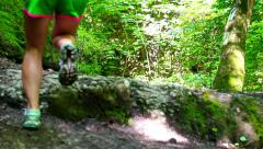 Woman jumping on rock in forest, steadycam shot, slow motion shot at 240fps Stock Footage