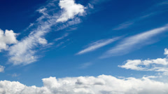 Cumulus and cirrus clouds on blue sky Stock Footage