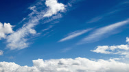 Stock Video Footage of cumulus and cirrus clouds on blue sky