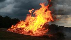 Big Fire dancing in the Wind Stock Footage