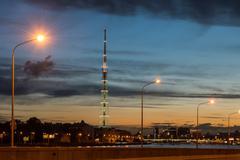 st. petersburg. city tv tower. night view. - stock photo