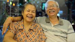 Portrait of old asian people, happy senior asia man and woman with white hair - stock footage