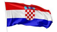 flag of croatia on flagpole - stock illustration
