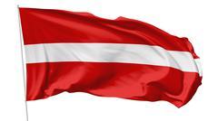 flag of latvia on flagpole - stock illustration