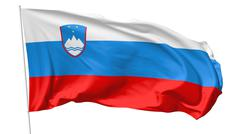 flag of slovenia on flagpole - stock illustration