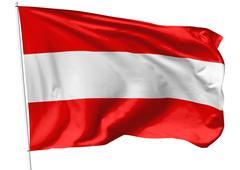 flag of austria on flagpole - stock illustration
