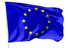 flag of europe on flagpole - stock illustration