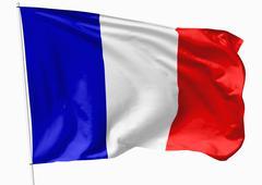 flag of france on flagpole - stock illustration