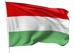flag of hungary on flagpole - stock illustration