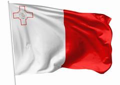 flag of malta on flagpole - stock illustration