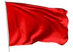 red flag on flagpole - stock illustration