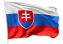 flag of slovakia on flagpole - stock illustration