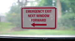 Emergency Exit Sign on Public Bus Stock Video Stock Footage