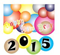 Happy new year 2015 colorful ball festival Stock Illustration