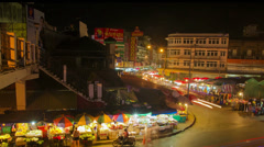 HD Time Lapse night market, tilt down, Chiang Mai, Thailand Stock Footage