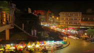 Stock Video Footage of HD Time Lapse night market, tilt down, Chiang Mai, Thailand