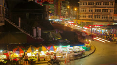 HD Time Lapse night market, zoom out, Chiang Mai, Thailand Stock Footage