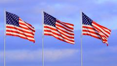 Three American Flags Waving and Flowing on Gentile Breeze Stock Footage