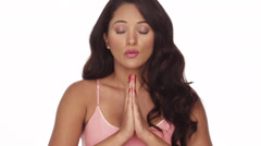 Mexican woman taking deep breaths - stock footage