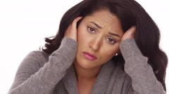 Hispanic woman with anxiety - stock footage