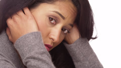 Mexican woman overwhelmed with stress - stock footage