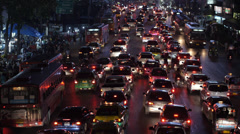 Timelapse View of Traffic on Busy Street, Bangkok, Thailand Stock Footage