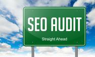 Stock Illustration of Seo Audit on Green Highway Signpost.