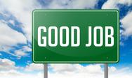 Stock Illustration of Good Job on Green Highway Signpost.