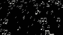 Animated falling white music notes in 4k with alpha Stock Footage