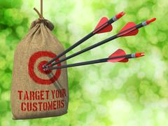 Target Your Customers - Arrows Hit in Red Mark Target. Stock Illustration