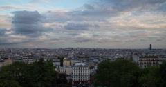 4K Evening View of Paris City Stock Footage