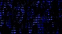Binary Matrix Wall Blue Background Stock Footage