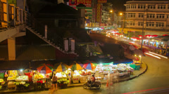 HD Time Lapse night market, pan right, Chiang Mai, Thailand Stock Footage