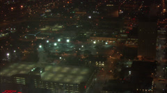 Toyota Center Nighttime Aerial Stock Footage