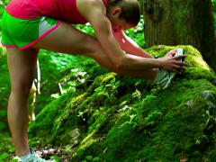 Woman warming up in forest, steadycam shot, slow motion shot at 240fps Stock Footage