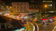 HD Time Lapse night market pan right, Chiang Mai, Thailand Stock Footage