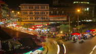 Stock Video Footage of HD Time Lapse night market pan right, Chiang Mai, Thailand