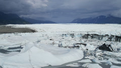 Aerial view of Ice shelf Knik Glacier, Alaska, USA Stock Footage