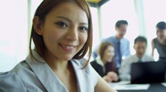 Portrait Manager Ethnic Colleagues Business Consultancy Background Stock Footage