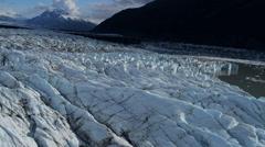 Aerial view of ice glacier Knik Glacier, Alaska - stock footage