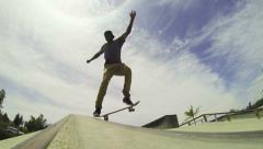 Slow Motion Skateboarder Down Rail In Skatepark - stock footage